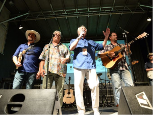 Wil, Harold, Don & Langdon on stage at the 4th of July celebration in Staunton,VA